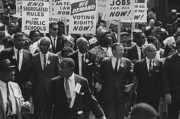 Civil Rights leaders marching from the Washington Monument to the Lincoln Memorial, August 28, 1963.