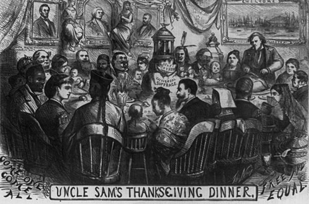 """Uncle Sam's Thanksgiving Dinner,"" by Thomas Nast, Harper's Weekly (20 November 1869)"