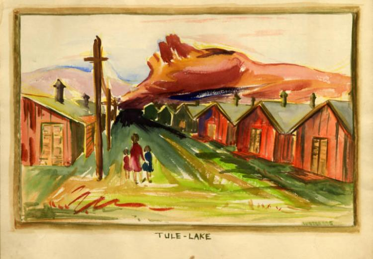 Watercolor painting depicting three figures, two children and one adult, walking towards a road lined with barracks and electrical poles. Tule Lake, 1942.